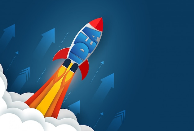 Space shuttle launch to the sky. isolated from the blue background.  start up business finance concept