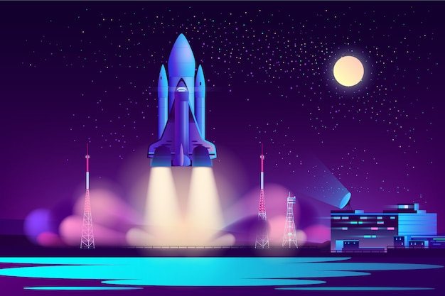 Space shuttle night launching cartoon vector