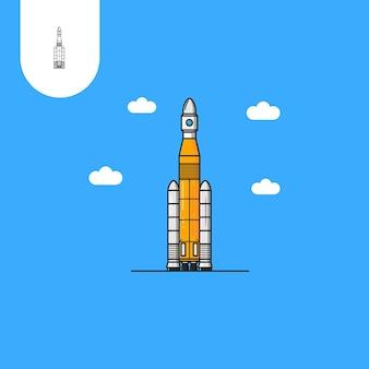 우주 왕복선 로켓 웹 패턴 디자인 아이콘 ui ux 등을 위한 완벽한 사용