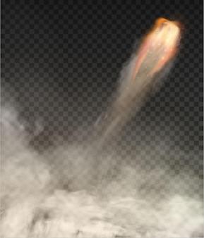 우주 왕복선 연기 고립 된 그림