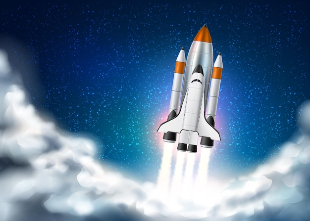 Space shuttle takeoff with fire from engines on night star sky with clouds background