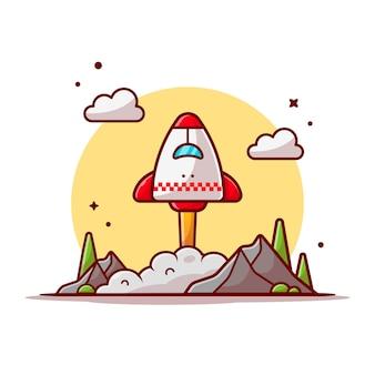 雲、山と木のスペース漫画アイコンイラストで離陸するスペースシャトル。