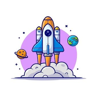 惑星と地球の宇宙漫画アイコンイラストで離陸するスペースシャトル。