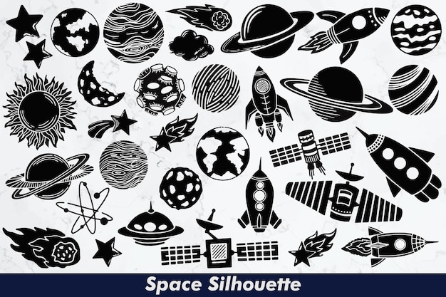Space silhouette elements set