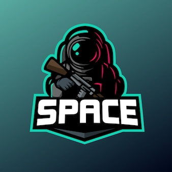 Space soldier mascot for sports and esports logo
