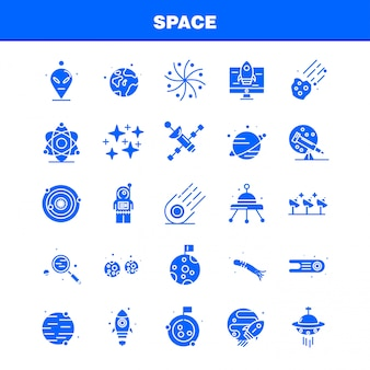 Space solid glyph icons set