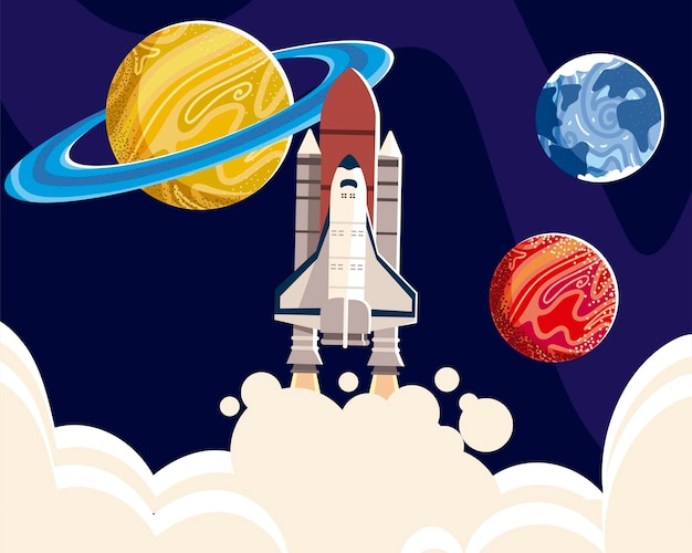 Space spaceship explore planets universe galaxy  illustration Premium Vector
