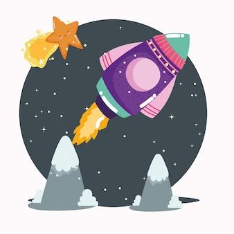 Космический корабль, падающая звезда, исследуй и приключения милый мультфильм