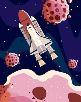Space spaceship spaceship with asteroids starry scene  illustration