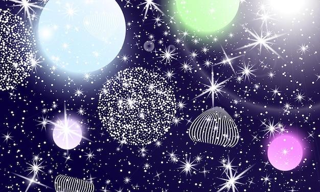 우주 별. 판타지 세계. 우주 은하 배경입니다. 유니콘 패턴입니다. 요정 배경입니다.