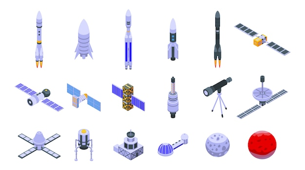 Space station icons set