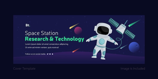 Space station research and technology facebook cover page template
