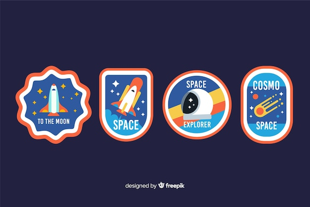 Space sticker collection concept illustration