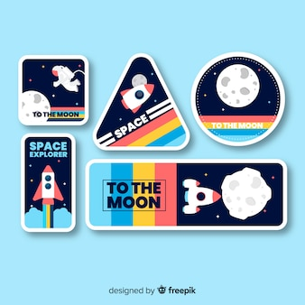 Space sticker collection with blue background