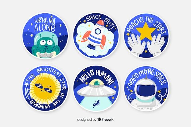 Space sticker round collection