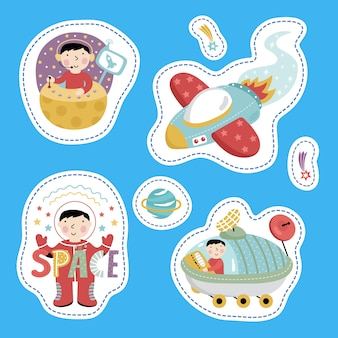 Space stickers, cartoon style