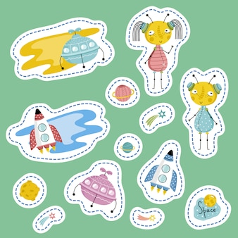 Space stickers for table games cartoon vectors set
