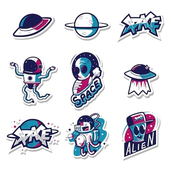 Space stickers with cosmonaut, alien and ufo cartoon set isolated on a white background.