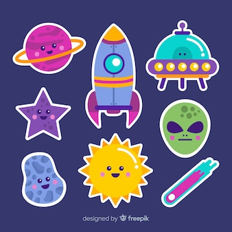Space stiker collection cartoon concept