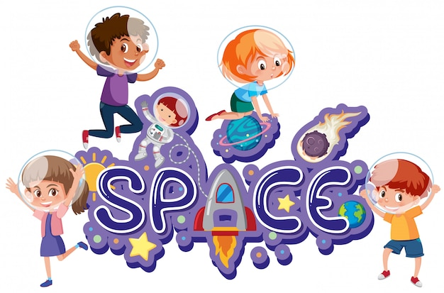 Space symbol with kids