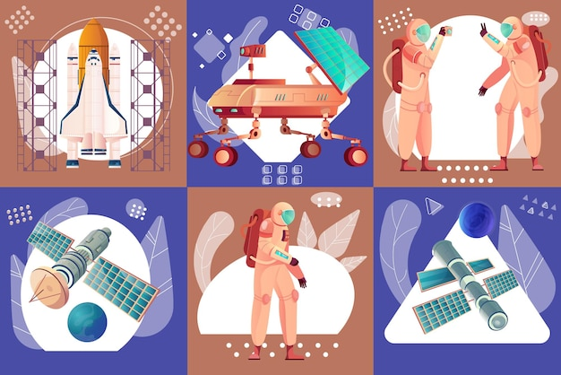 Space technology and exploration set of flat illustration