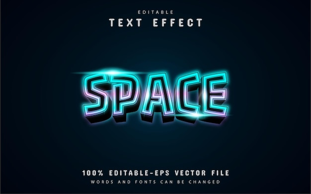 Space text, blue neon text effect