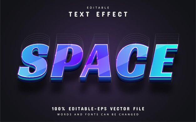 Space text, editable 3d style text effect