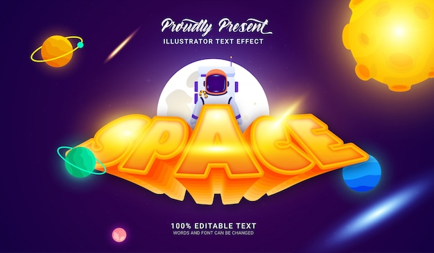 Space text style effect. editable text effect
