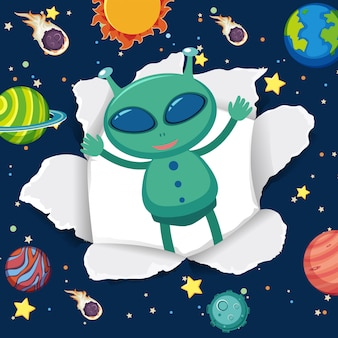 Space theme background with alien in the space