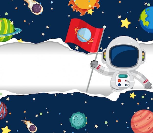 宇宙飛行士が宇宙を飛んでいると宇宙テーマの背景