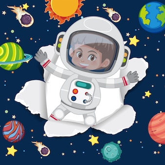 Space theme background with flying astronaut in the space