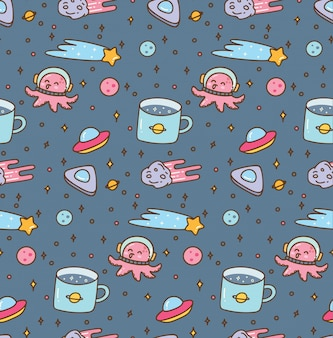 Space theme doodles seamless pattern