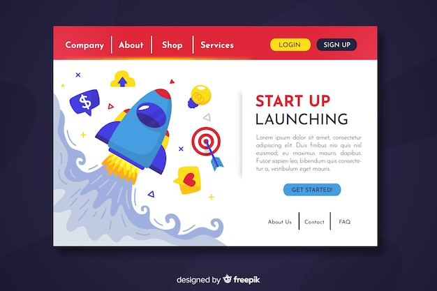 Space theme start up landing page