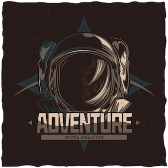 Space theme t-shirt design with illustration of dead astronaut