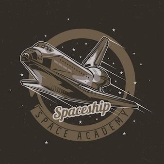 Design t-shirt a tema spaziale con illustrazione dell'astronave