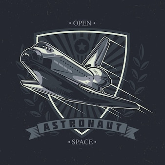 Space theme t-shirt design with illustration of spaceship