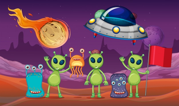 Space theme with aliens and ufo on planet