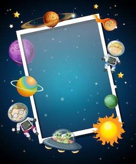 Space themed border with blue background