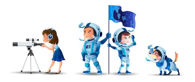 スペースをテーマにした水平セット。フラグを持つ男と女の宇宙飛行士。