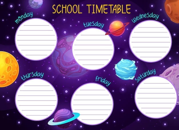 Space timetable with galaxy stars and planets
