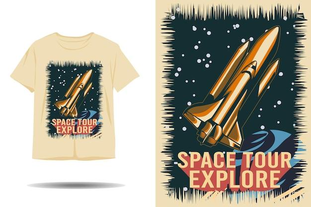 우주 여행 탐험 실루엣 티셔츠 디자인