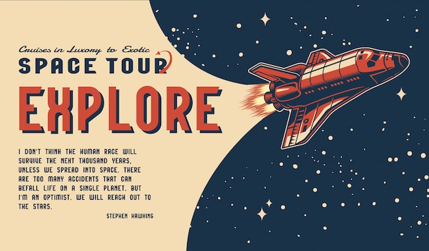 Space tour vintage colorful horizontal template