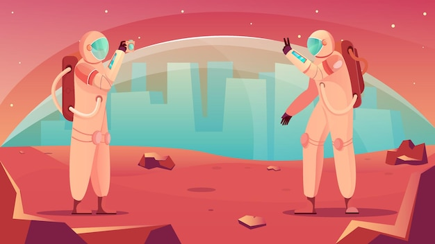 Space tourism in a extraterrestrial base and astronauts taking photos illustration