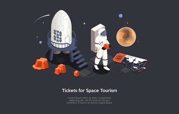 우주 관광, 미래 우주 여행 및 우주 비행사를 위한 티켓 개념 설명. 문자 및 개체, 만화 3d 스타일 아이소메트릭 벡터 구성. 로켓, 우주인.
