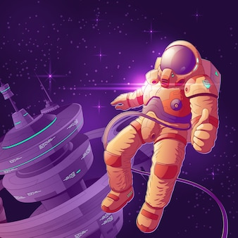 Space tourist having fun on orbit cartoon illustration.