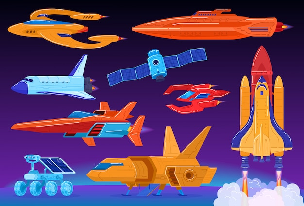 Space transport set, science fiction spaceship and shuttle launch, futuristic technologies,  illustration