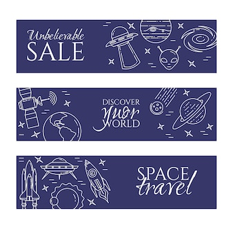 Space travel banner with line cosmos pictograms.