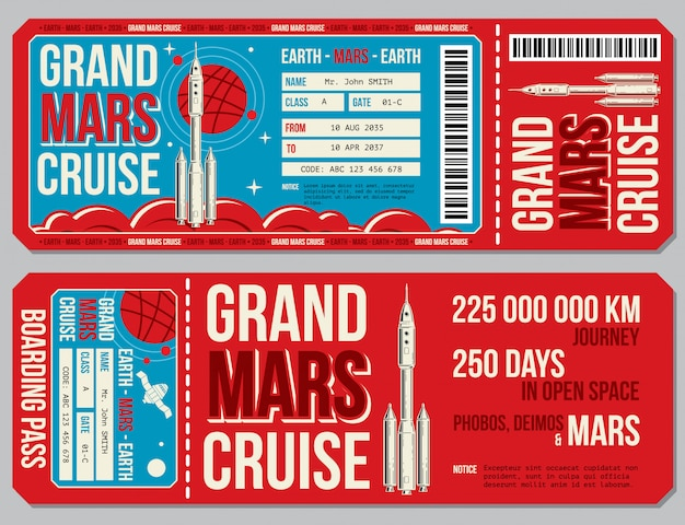 Space travel boarding pass template. journey to mars tickets.