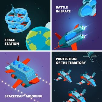 宇宙旅行の発見。星間ステーションの写真で宇宙船と軌道探査機で宇宙飛行士または宇宙飛行士