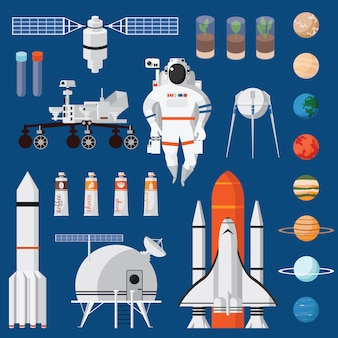 Space travel flat set isolated